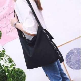 Instock Black Tote Bag With Zipper Closure And Inner Zip Pocket Canvas