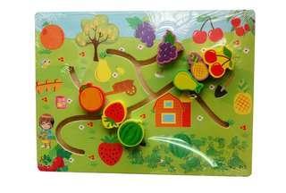 🚚 ✔現貨✰水果迷宮木製拼板(厚)#一百均價 (原價$110)【晴陪我玩❤玩具】迷宮 水果 找位 軌道 安全材質
