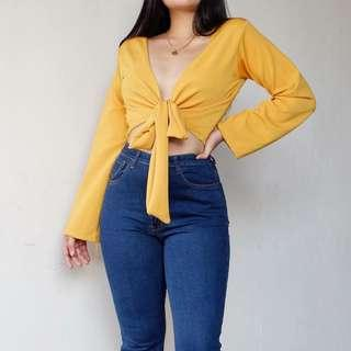 Mustard / Yellow Self-Tie Top