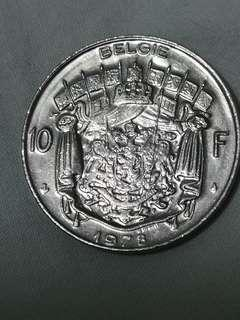 比利時 1978 10法朗 硬幣(K108)