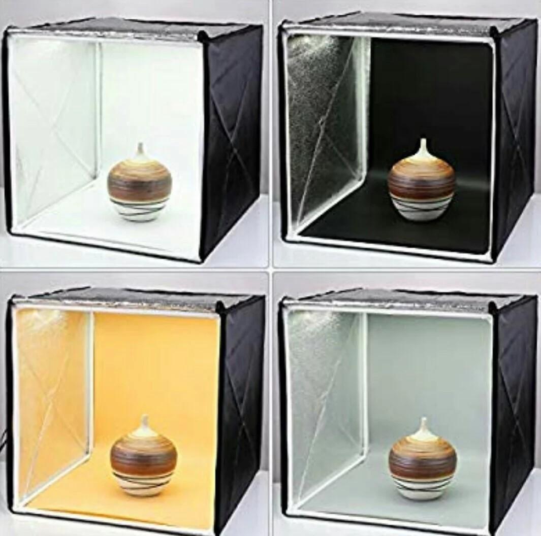 Amzdeal Light Box Photo Studio 20 x 20 inch Professional Photography Tent  with LED Light 4 Backdrops (White Black Orange Grey)(E766)