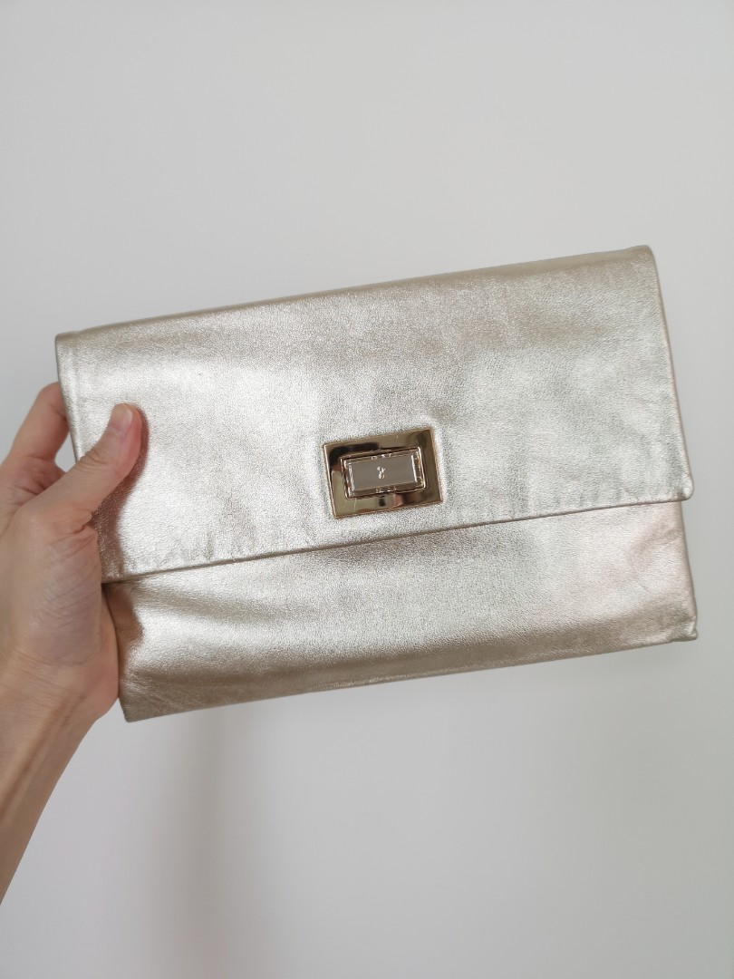 e48a221f4930 Authentic Anya Hindmarch Gold Color Clutch