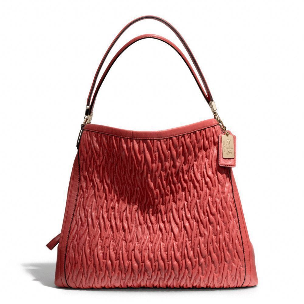 47bf13d757 Authentic Red Coach Madison Gathered Twist Leather Phoebe Shoulder ...