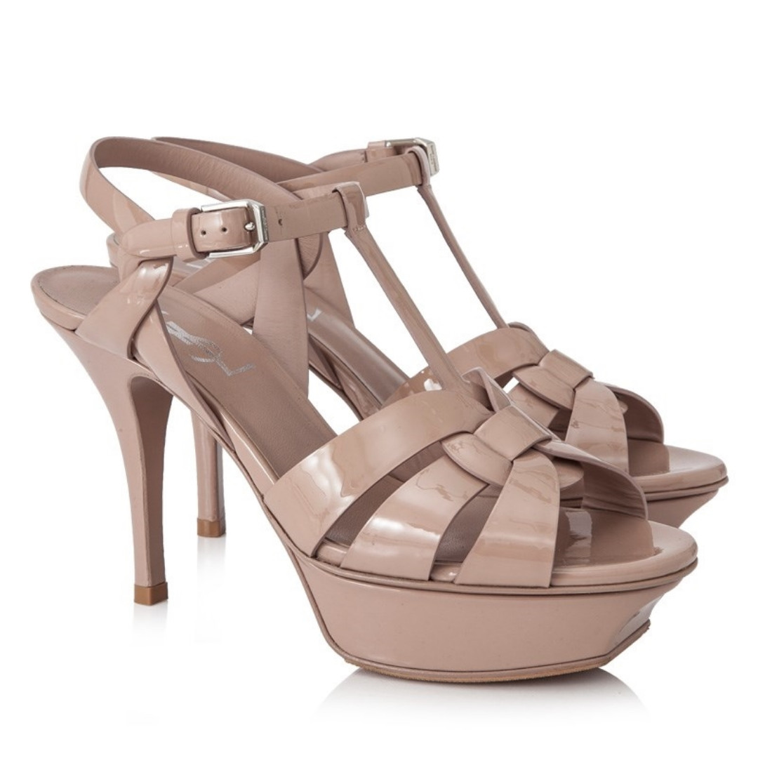 06c7e2b588 Authentic YSL Tribute Heels (patent nude pink), Women's Fashion, Shoes,  Heels on Carousell