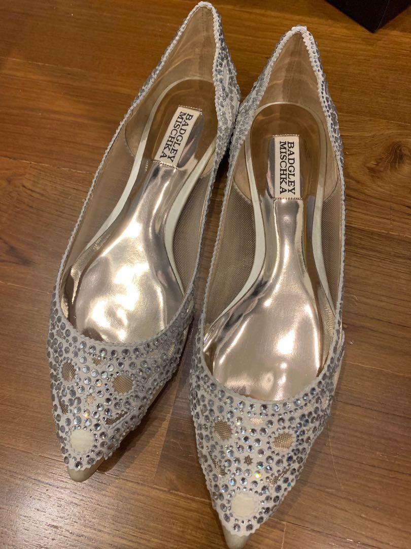 0765f48ff50 Badgley Mischka Gigi crystal wedding shoes flats (US8 1 2)