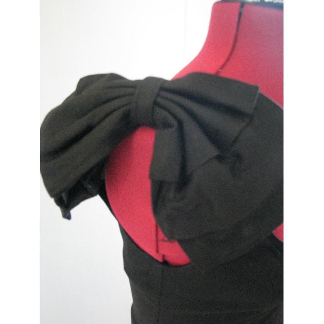 Bardot Black One Shoulder Bow Cocktail Dress - Size 10