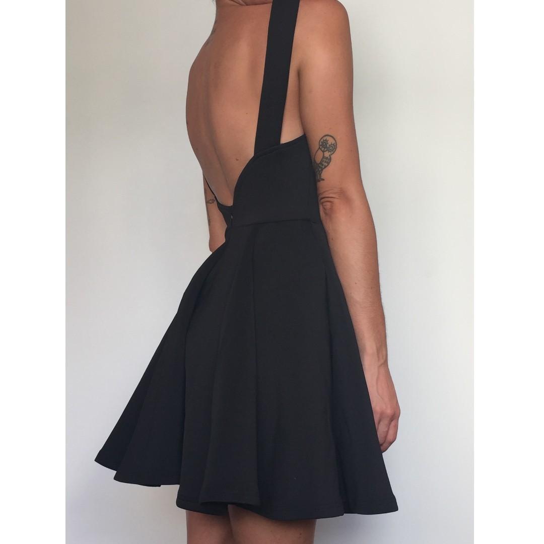 Black Neoprene/Scuba Open Back Party Dress - Size XS-S