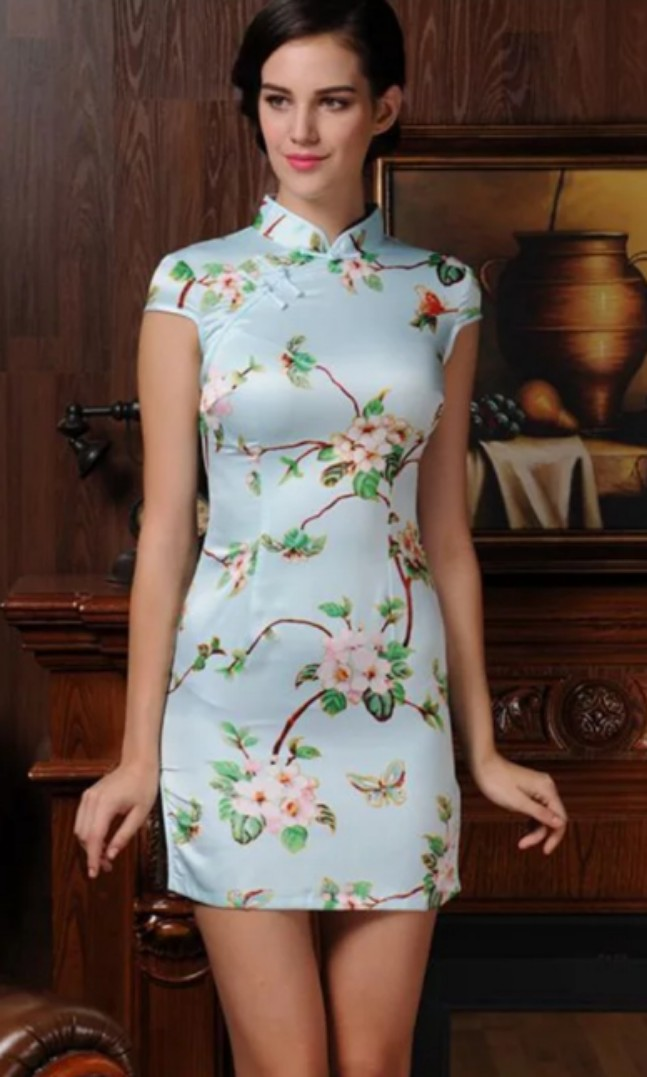 94e9650dc367 BN Cheongsam Dress Qipao CNY - Light Blue Floral, Women's Fashion, Clothes,  Dresses & Skirts on Carousell