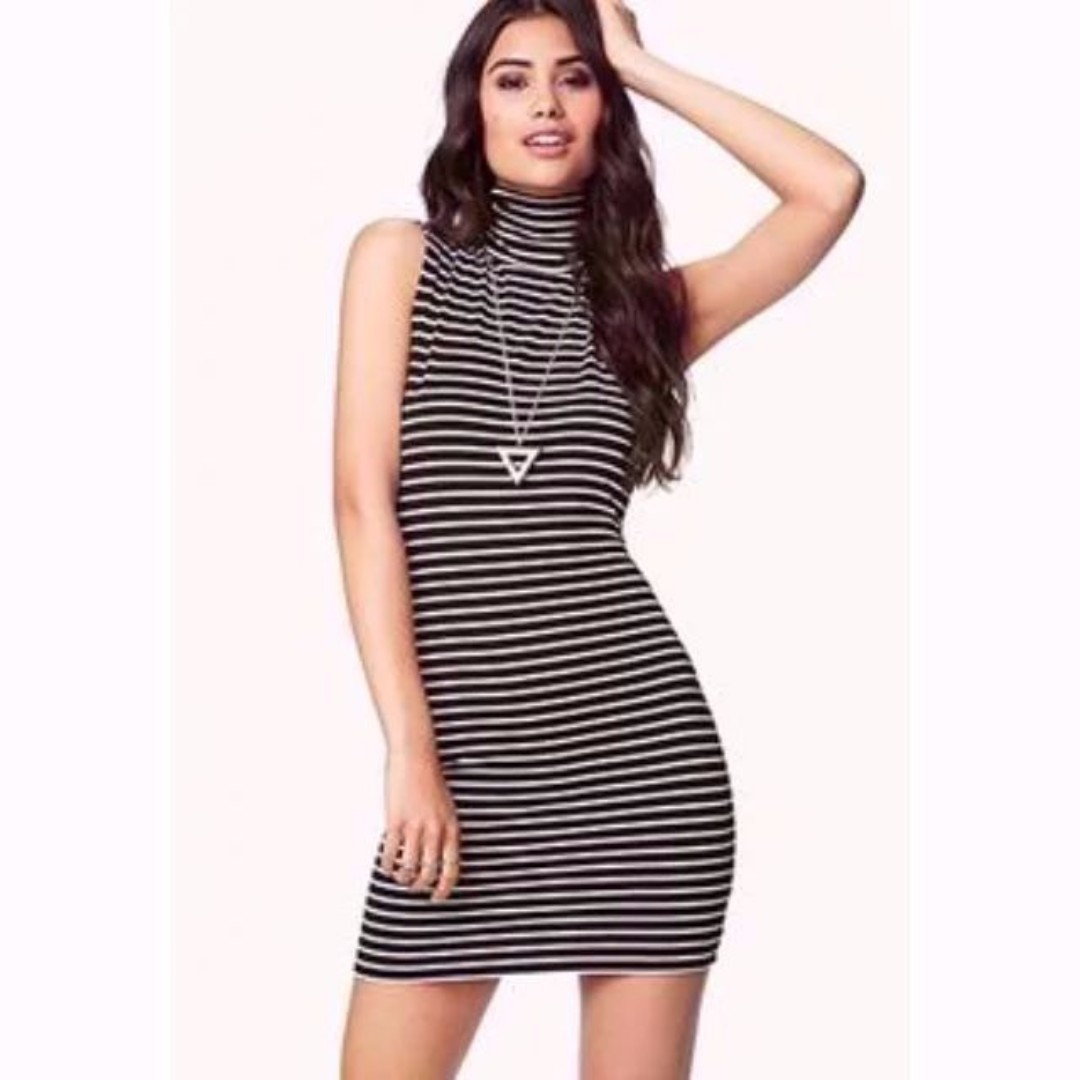 5a462b4f0fa46 BN Forever 21 F21 Striped Turtle Neck Dress
