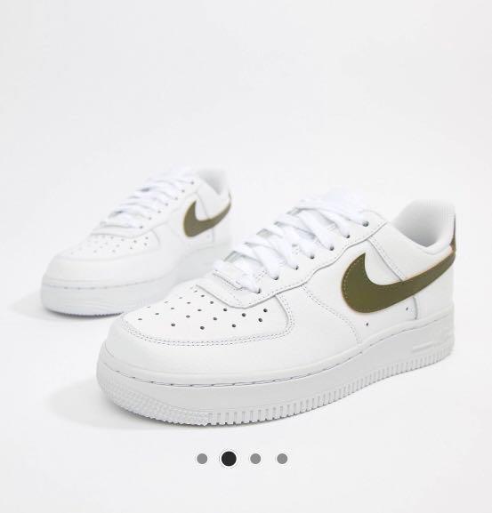 852315dd6da4 BN NIKE White Khaki Air Force 1  07 Trainers sneakers (UK3 ...