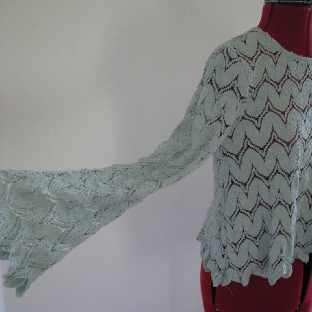 Boho Lace Mint/Pale Blue Long/Bell Sleeve Top - Size S