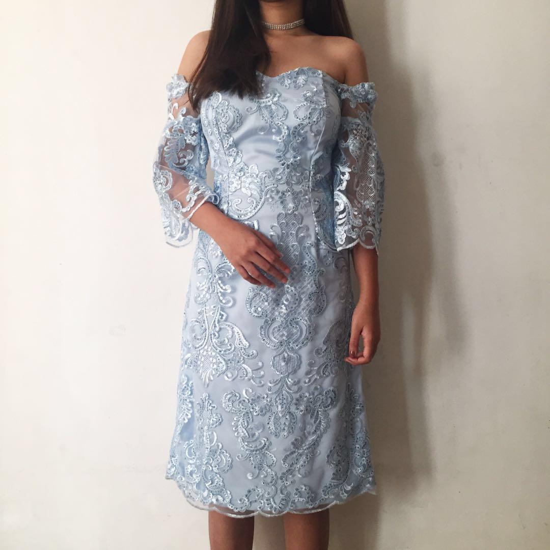 Brukat Sabrina Off Shoulder Baby Blue Dress Gaun Pesta Kondangan