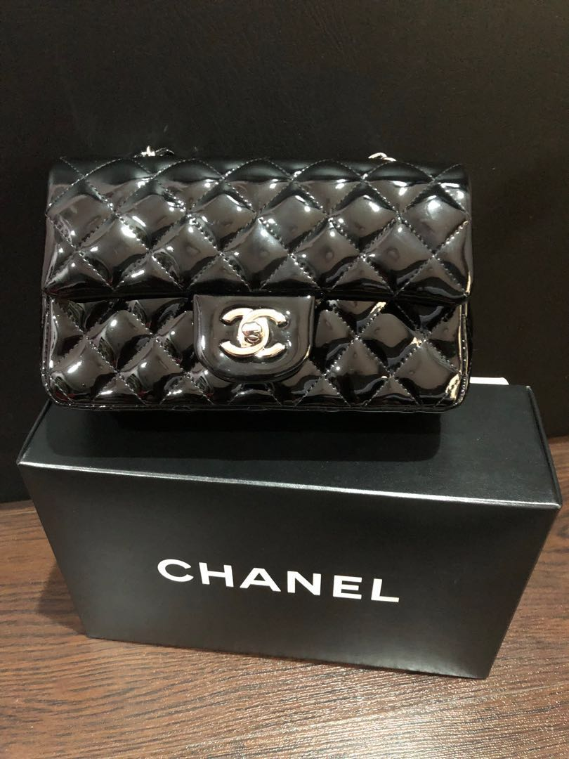 429e020a Chanel Black Patent Leather Mini Flap Bag and Coin Purse (Sold in a ...