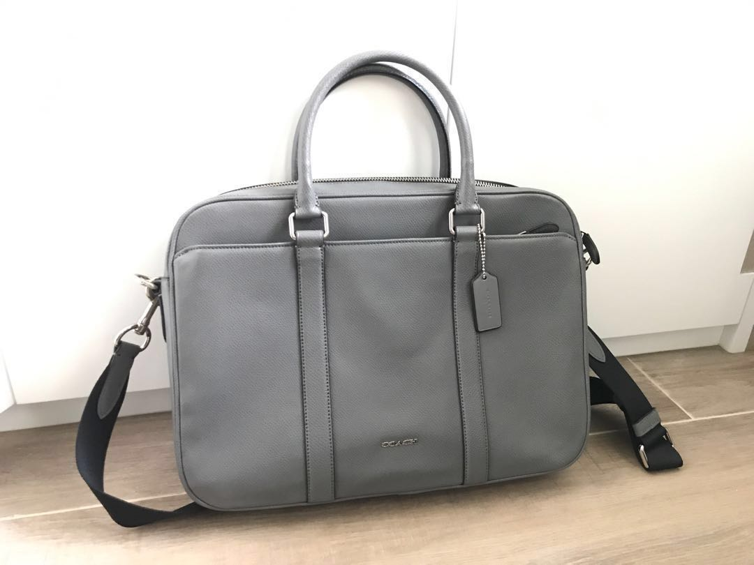 5d338aed Coach Brand New Men's Grey Work Bag / 男裝真皮灰色返工袋 全新未用
