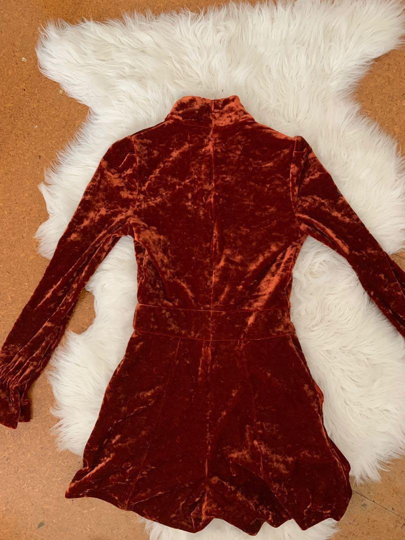 'Cue' Orange Velvet Playsuit Size 6 - Immaculate condition