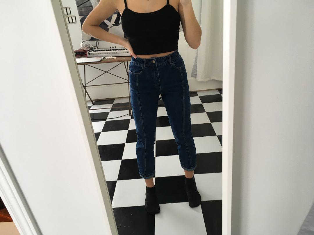 Dark wash high rise jeans with middle stitching - Wild Honey