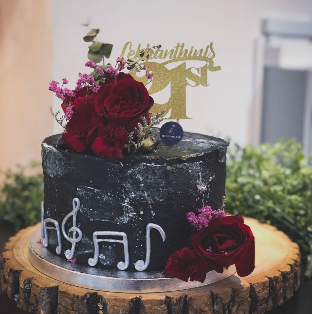 Floral Music Themed Cake Customised 21st Birthday Cakes