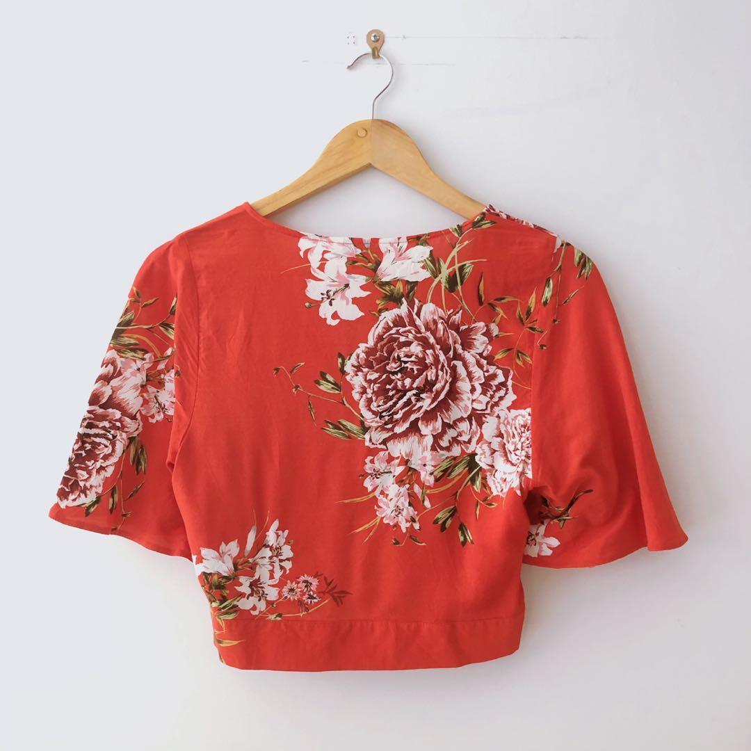 Floral Red kimono style tie up top
