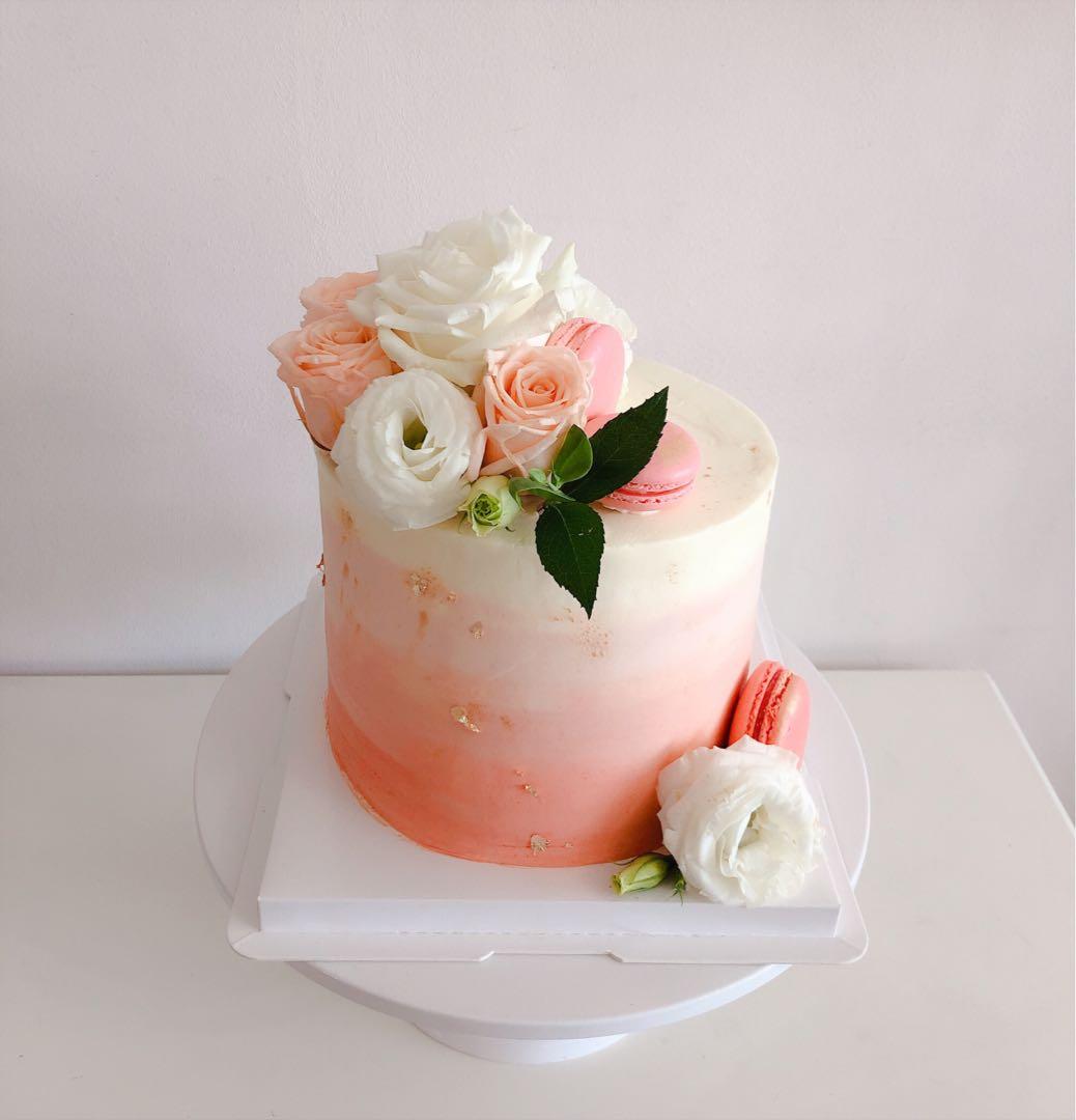 Flower Macaron Cake Girl Birthday Baby Shower Wedding Food