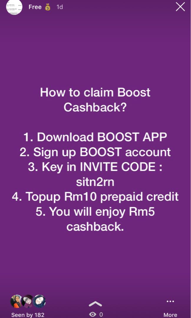 FREE RM5 (BOOST APP)