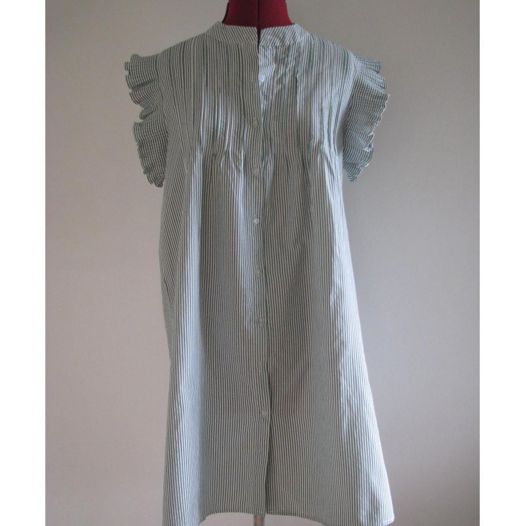 Green & White Stripe Vintage Style Pleat Detailed Dress - Size M