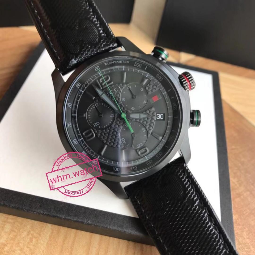 dbe94aa37d0 GUCCI G-Timeless Chronograph Black Dial Black Fabric Men s Watch ...