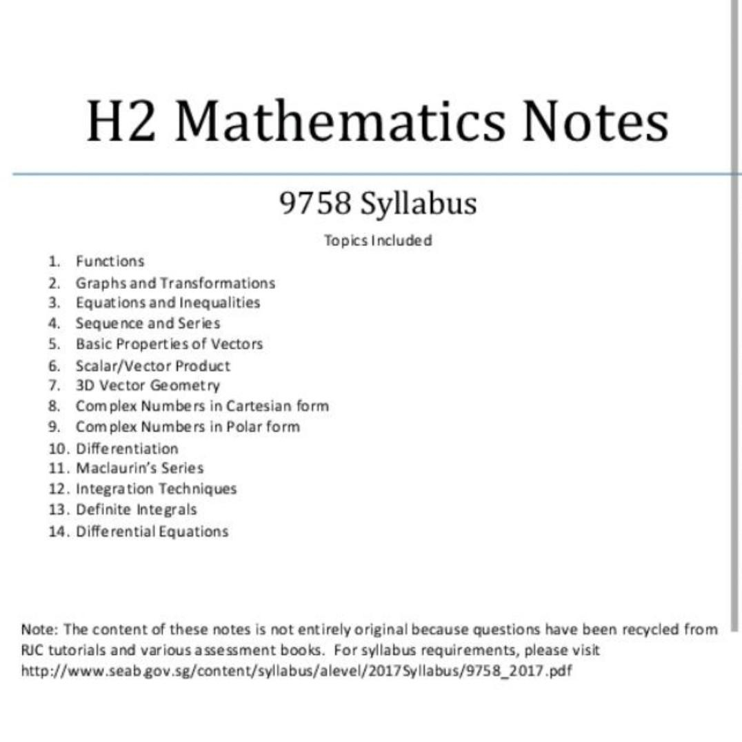 H2 MATHEMATICS NOTES ONLINE, Books & Stationery, Textbooks
