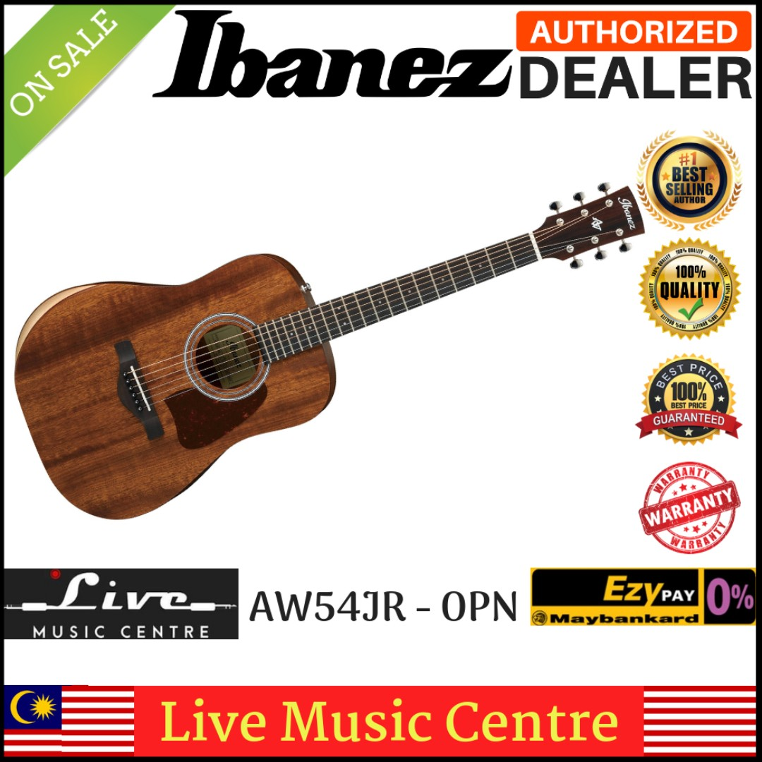 Musical Instruments & Gear 2019 New Style Ibanez Aw54jr-opn Artwood Solid Mahogany Top Mini Dreadnought Guitar & Gig Bag