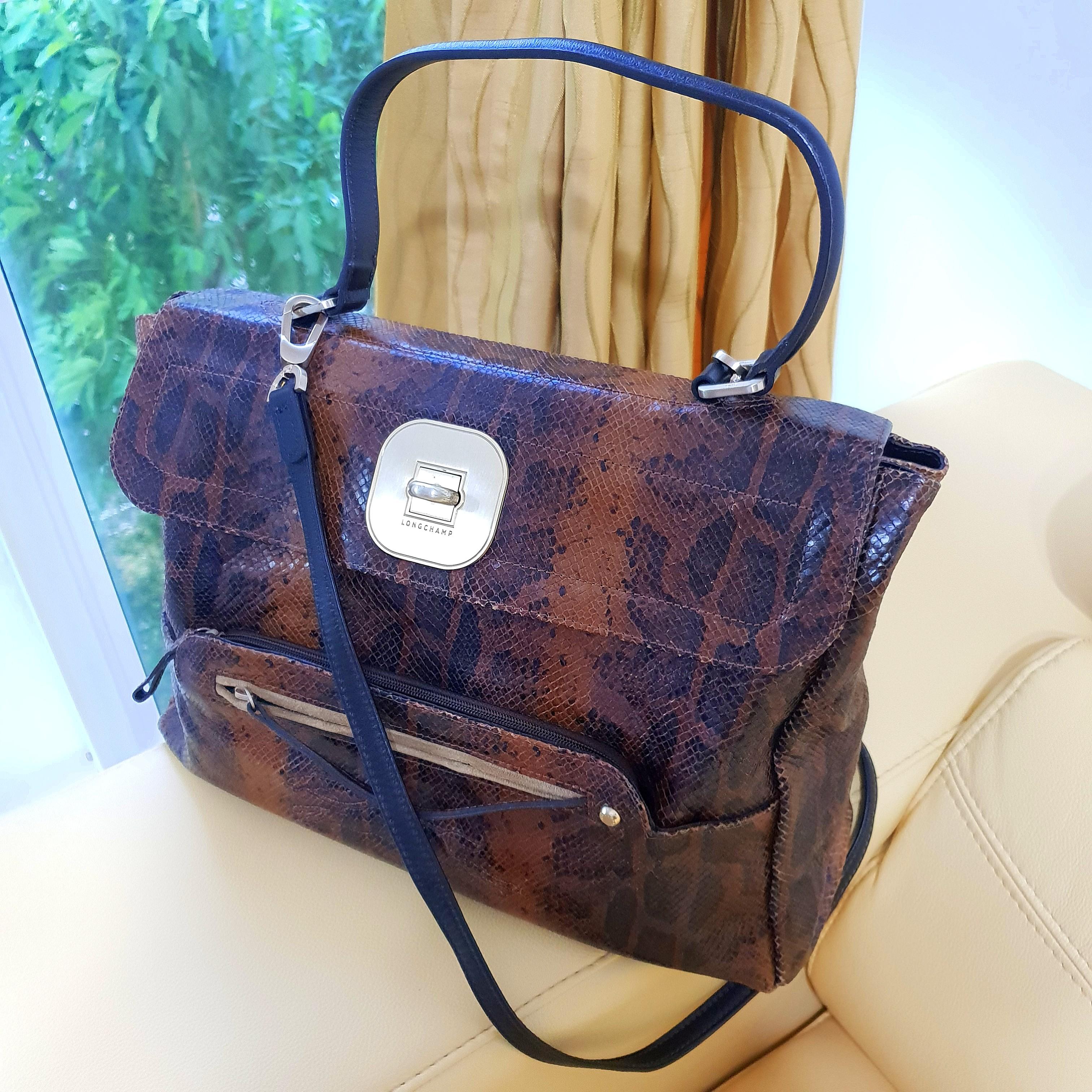 0fcd94012 Longchamp Ladies Black Brown Leather Shoulder Handbag Large Siz ...