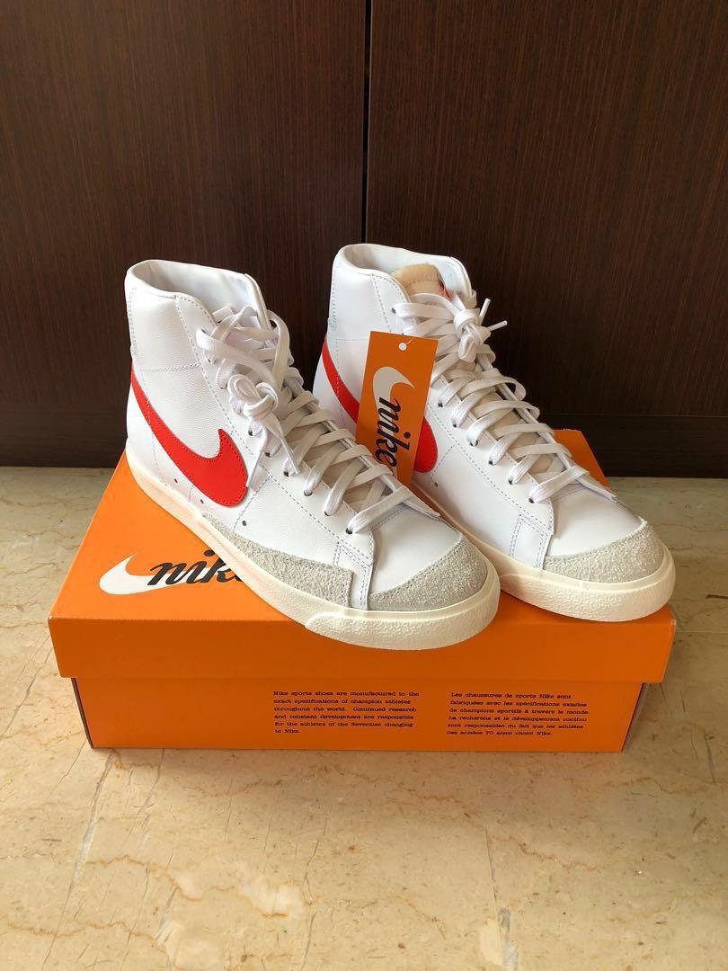 Nike Blazer Mid 77 Vintage Habanero Red/ Sail-White, Men's Fashion ...