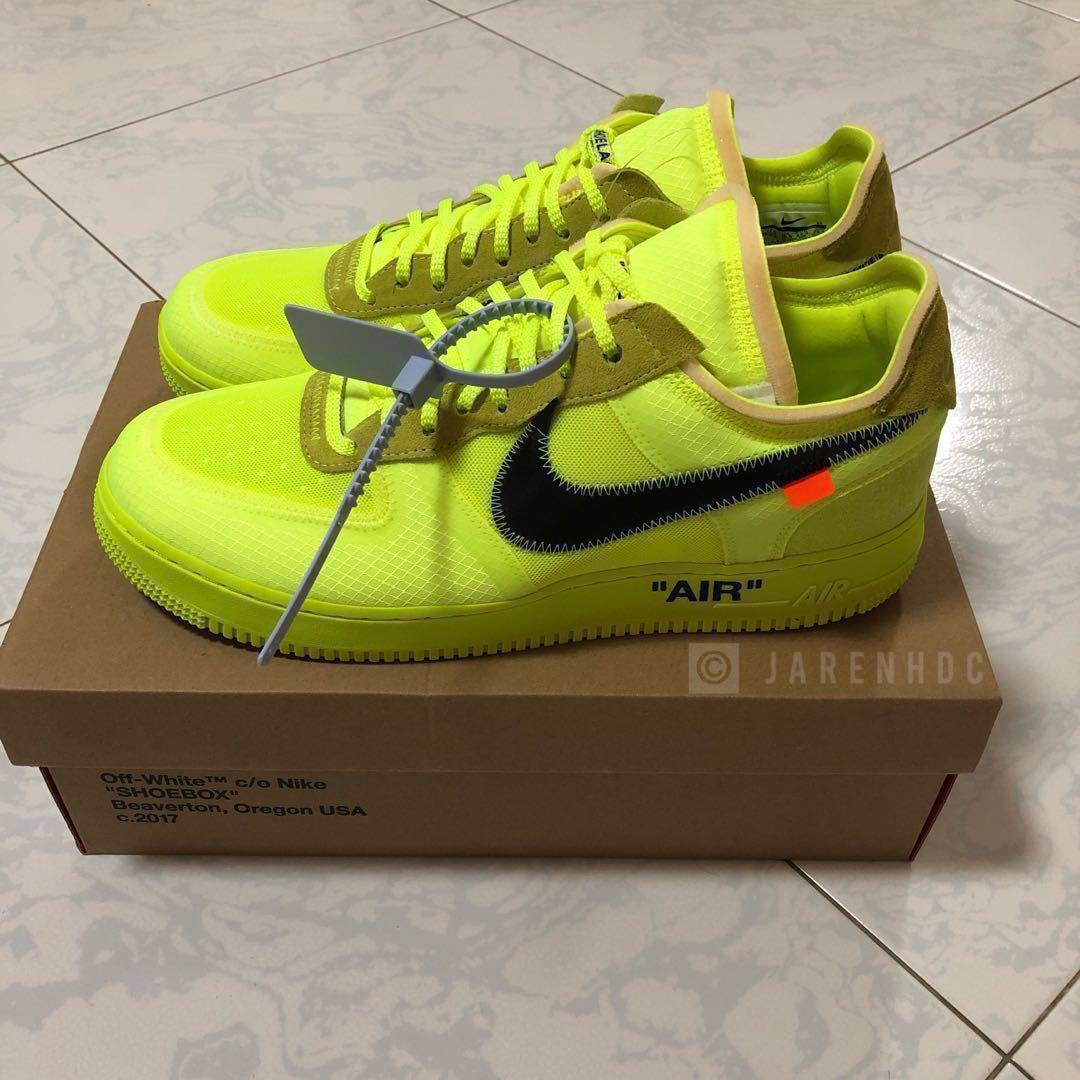 reputable site cce02 30c2c Off-White x Nike Air Force 1 Volt, Men's Fashion, Footwear ...