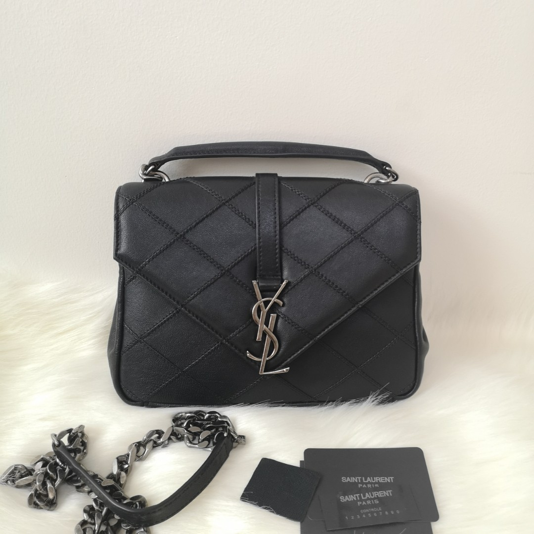 6624fb7742ba ON HAND  Authentic Yves SAINT LAURENT Calfskin Matelasse Diamond Quilted Medium  College Monogram Bag Black