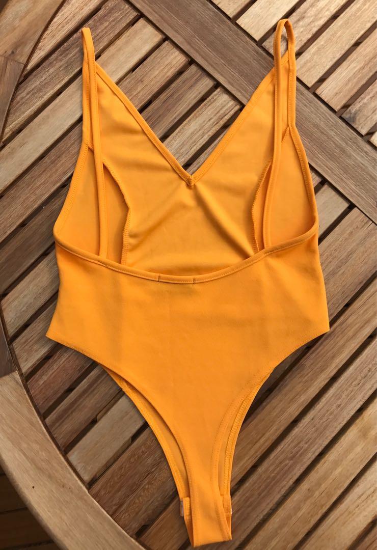 PrettyLittleThing Yellow Plunge Bodysuit Size10
