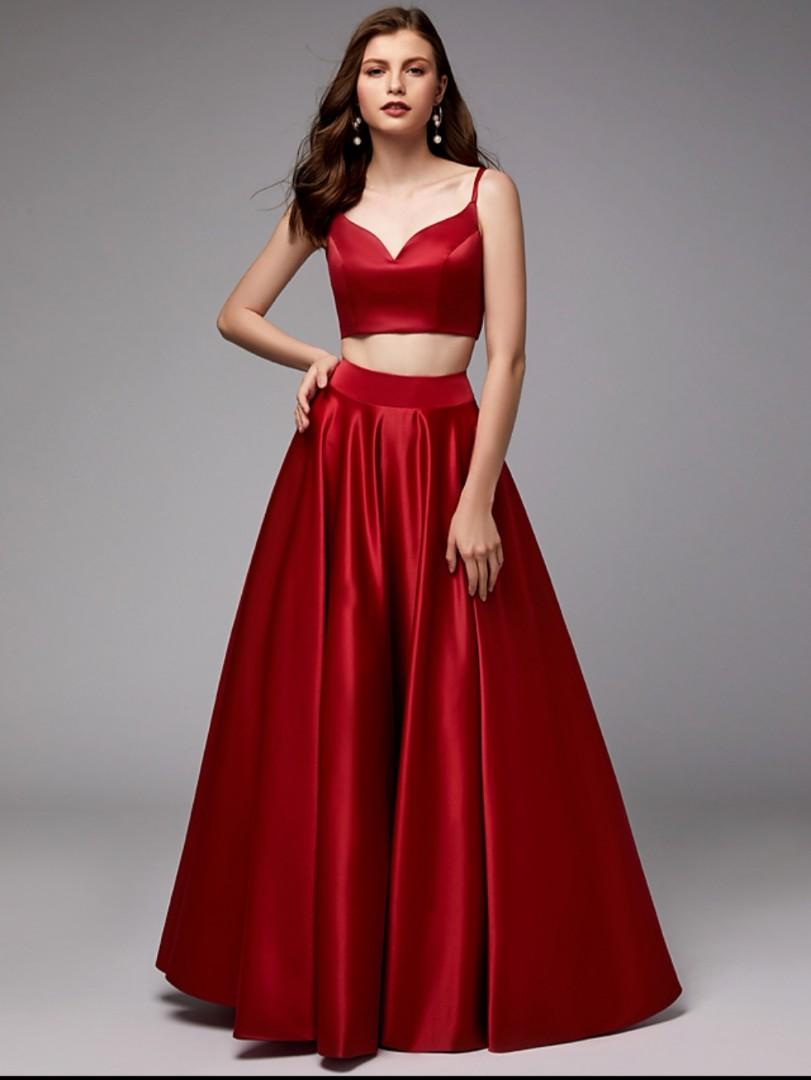 3e7da39d1a Princess Spaghetti Strap 2 piece floor length satin Evening Gown ...