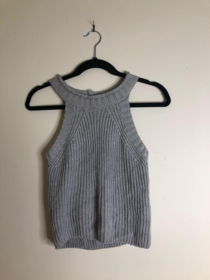 RUMOR BOUTIQUE Grey Knit Top Size (Brand New with Tags)