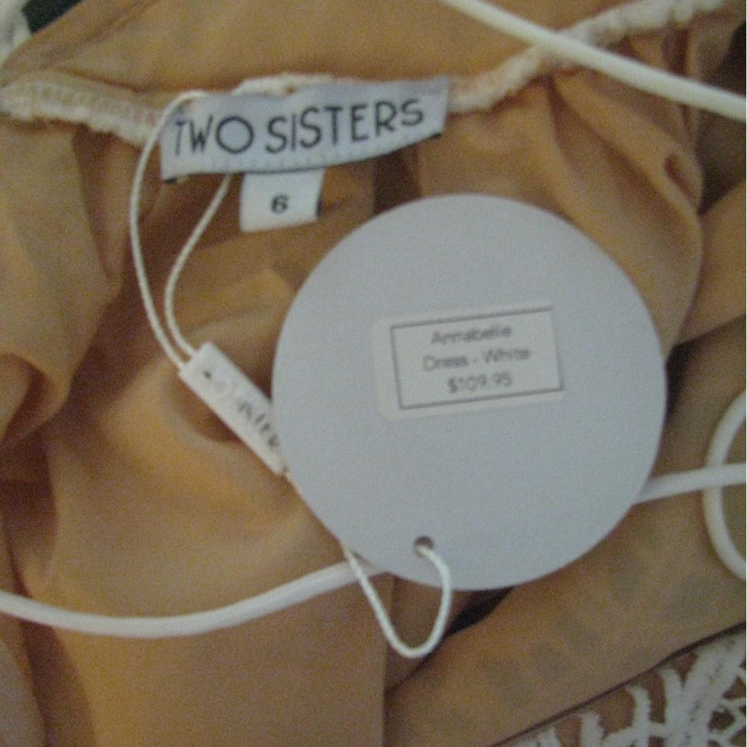 "Two Sisters ""Annabelle"" Dress White Lace Tan Lining Lace-up/Corset Back - Size 6"