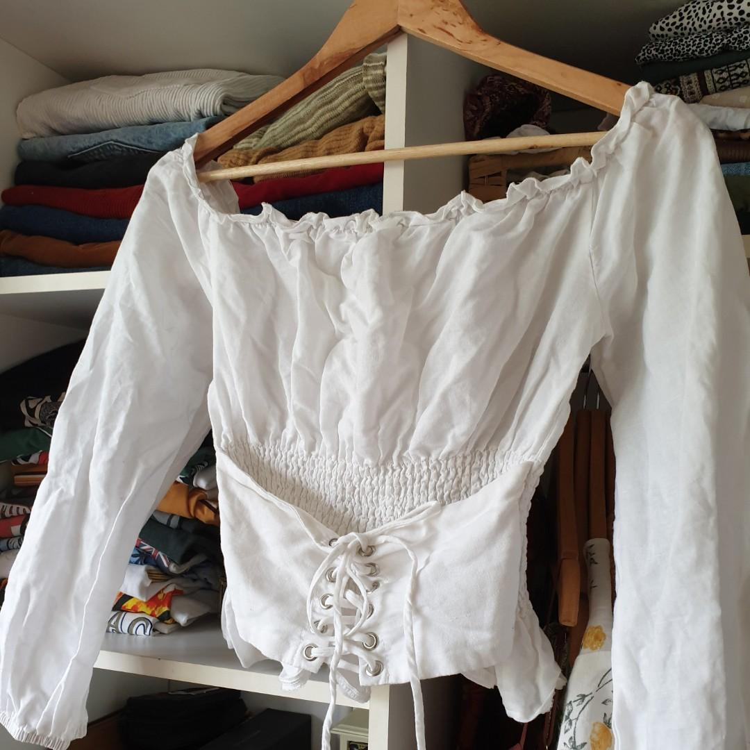White shirred off the shoulder lace up corset style crop