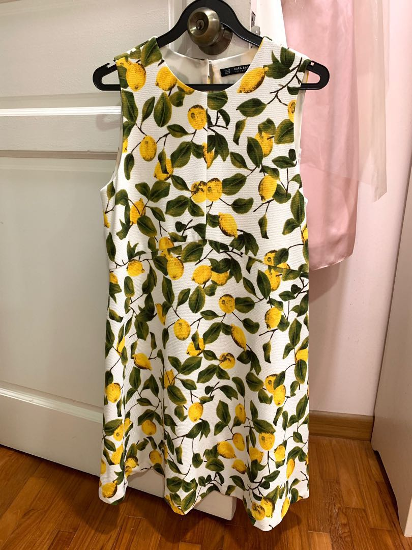 bcbe4cd8 Zara Lemon Yellow Green Dress A-Line Dress, Women's Fashion, Clothes ...