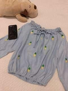 Off shoulder soft denim top (pineapple)