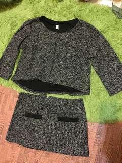 🚚 全新黑白針織 前短後長 兩件式 七分袖 套裝