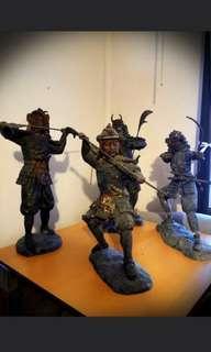 Iron and bronze cast Japanese Warriors