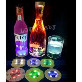 🚚 LED杯貼 發光酒瓶墊  LED發光杯墊杯套