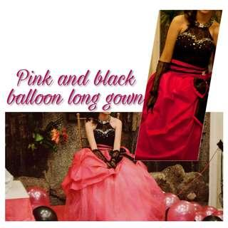 Pink and Black Long Gown for Rent