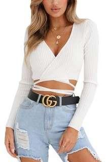 White Wrap Crop Top