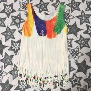 Beaded Fringe Feather Tank Top
