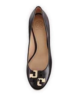 Tory Burch Lowell Leather Wedge Pump Black size 5.5/36.5