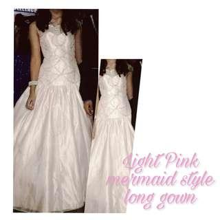 Pink / Peach Mermaid Style Long Gown for Rent