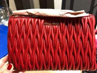 Brand New Miu Miu Lamb Leather Pouch / Miu Miu 全新羊皮手提包