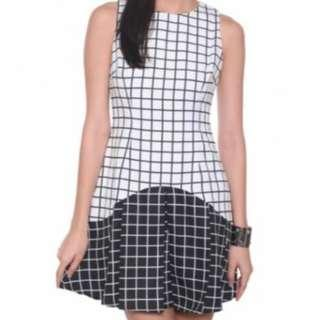Love Bonito Ilenia Grid Pattern Dress (White)