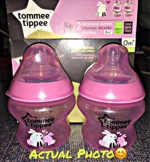 ‼️REPRICED‼️Tommee Tippee Closer to Nature Decorated🍼Bottles, Pink, 5 Ounce/150ml (Pack of 2️⃣)